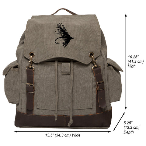 Fly Fishing Lure Hook Vintage Canvas Rucksack Backpack with Leather Straps