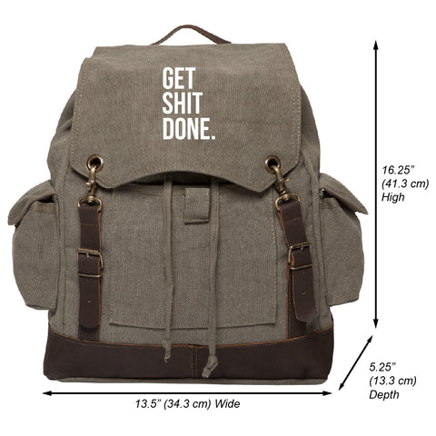 Get Sh*t Done Text Vintage Canvas Rucksack Backpack w/ Leather Strap Olive & Wh