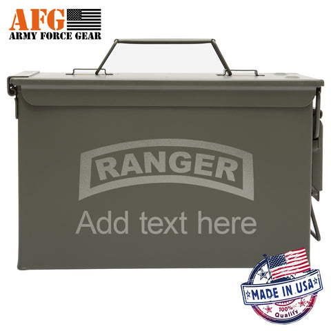 Metal Ammo Can US Army Ranger with Custom Engraving