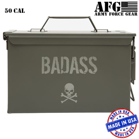 Personalized Bad Ass Skull and Crossbones Engraved Ammo Can Custom 50 Cal Ammunition Storage Box