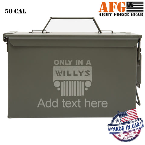 Personalized Engraved Ammo Can Property of Only in a Willys Tactical Storage Survival Box