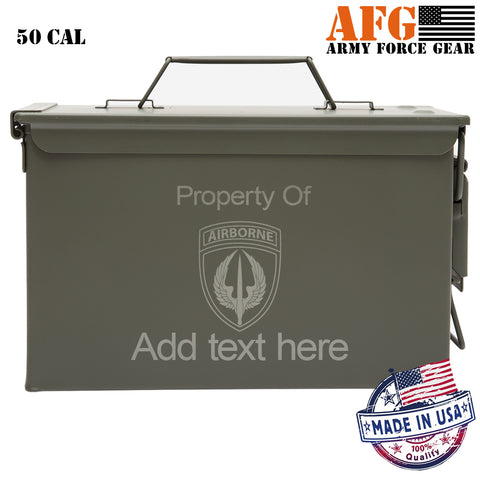 Personalized Engraved Ammo Can Property of Air Borne Badge with Wings Waterproof Tactical Storage Survival Box