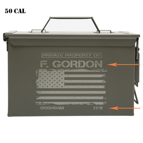 Personalized Engraved Ammo Can Groomsman American Flag Laser Waterproof Tactical Storage Survival Box