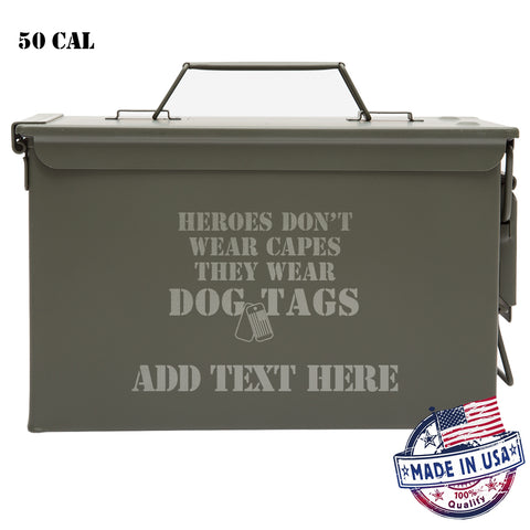 Personalized Engraved Ammo Can Dog Tags Laser Waterproof Tactical Storage Survival Box