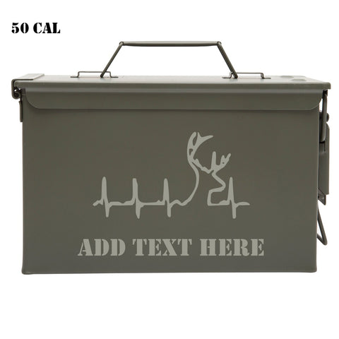 Personalized Engraved Ammo Can Property of Deer Hunting Heartbeat Lifeline Customized Tactical Storage Survival Box