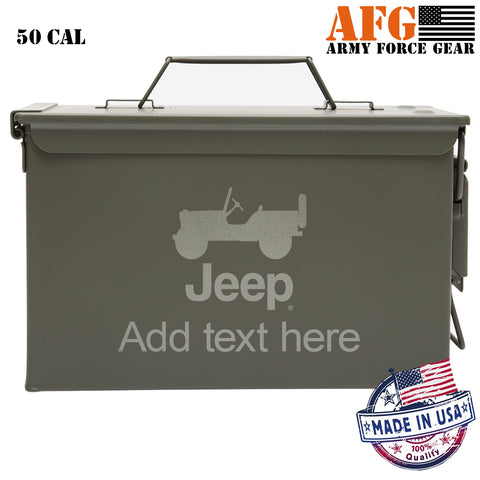 Personalized Engraved Ammo Can Property of Jeep CJ Silhouette Tactical Storage Survival Box