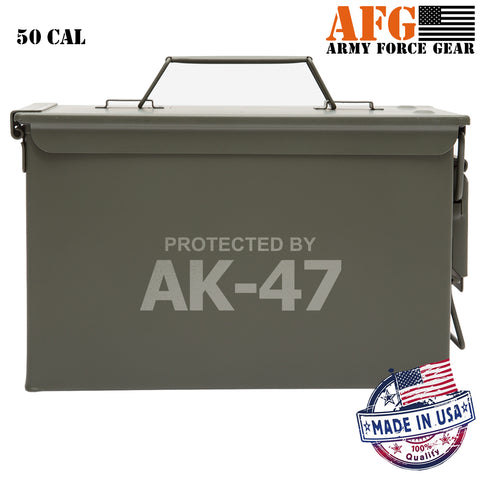 Protected by AK 47 Laser Engraved – Indoor Outdoor Military Army Survival Box