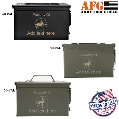 Personalized Engraved Ammo Can - Property of Deer Buck Hunting Crosshairs Sniper Custom Tactical Storage Survival Box