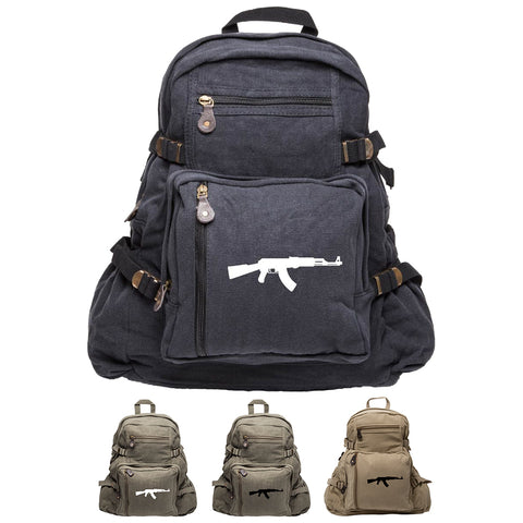 AK-47 Assault Rifle Army Sport Heavyweight Canvas Backpack Bag
