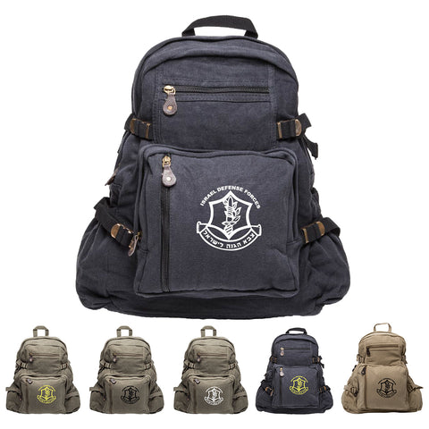 Army Force IDF Gear Israel Defense Forces Emblem Symbol Canvas Sport Backpack
