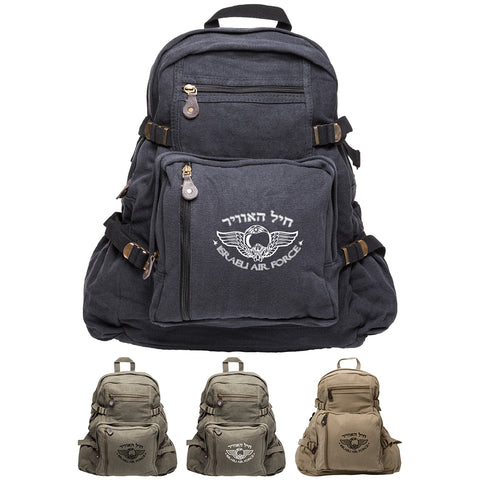 Israeli Air Force Army Sport Heavyweight Canvas Backpack Bag