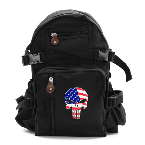 American Flag Punisher Skull Army Sport Heavyweight Canvas School Backpack Bag