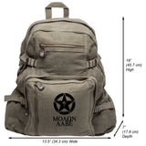 Molon Labe Punisher US Flag Skull Star Heavyweight Cotton Canvas Backpack Bag