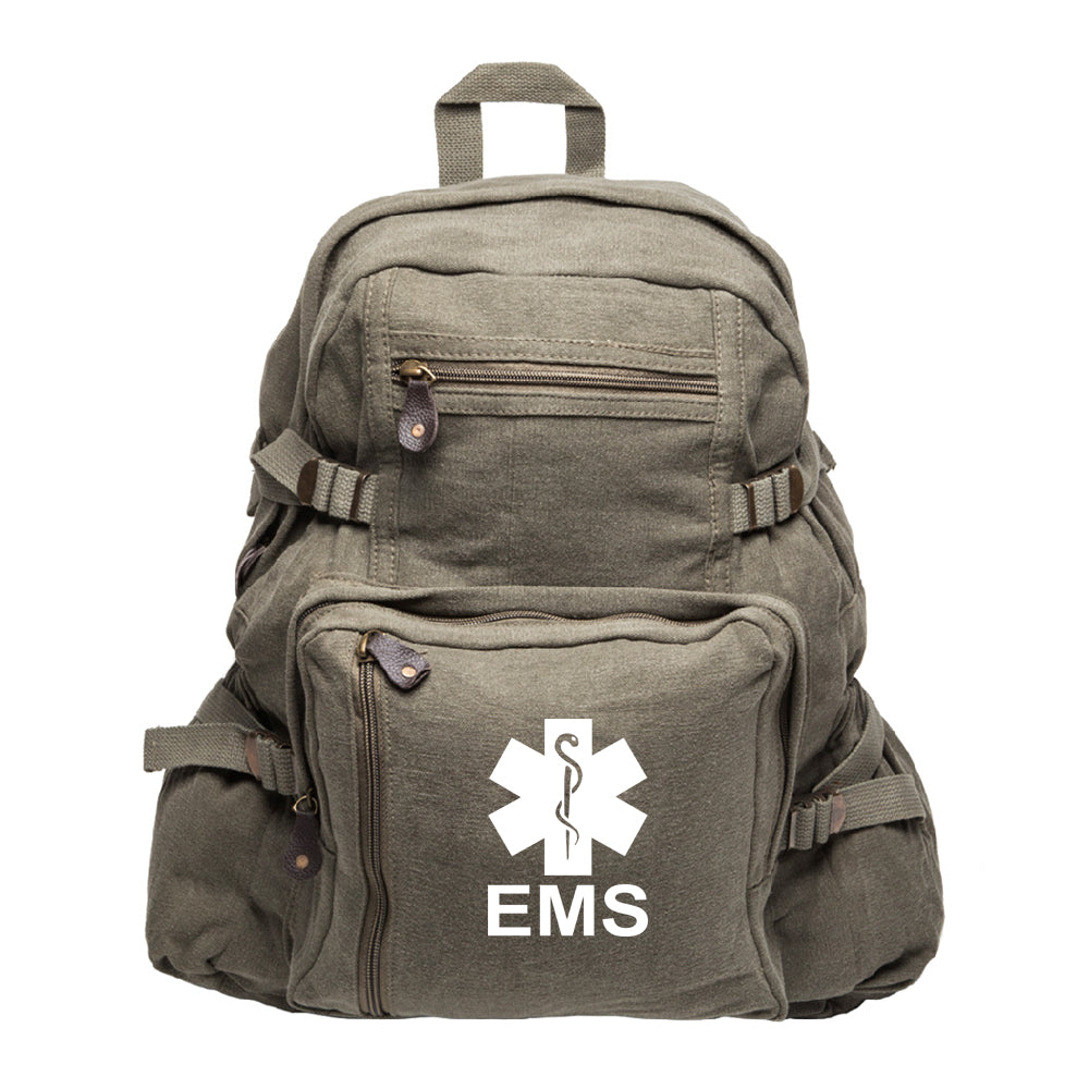 405bdc6dcbd0 EMS Emergency Medical Services Army Sport Heavyweight Canvas Backpack Bag