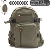 Heavyweight Cotton Canvas Sport Backpack Bag, with FREE Paracord Survival Tool
