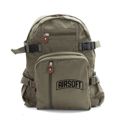 Army Force Gear Air Soft Heavyweight Cotton Canvas Backpack Bag Bookbag Daypack