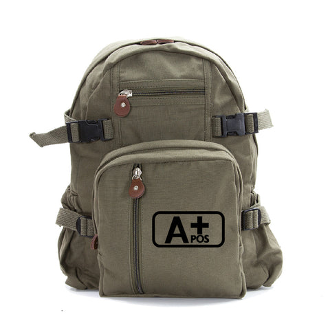 Army Force Gear Blood Type A+ Pos Heavyweight Canvas Backpack Bag Bookbag