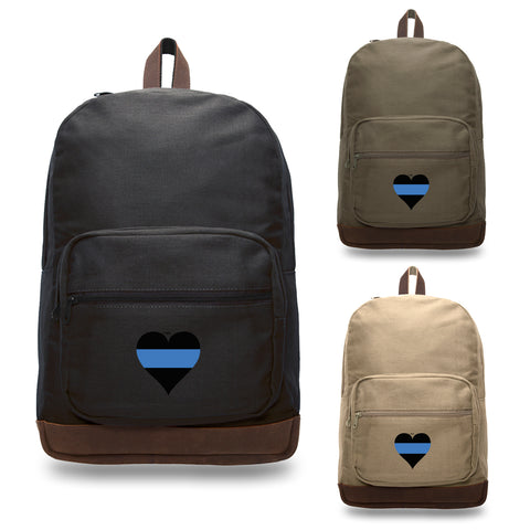 Thin Blue Line Heart - Police Policemen Backpack with Leather Bottom Accents