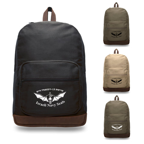 Israeli Navy Seals Canvas Teardrop Backpack with Leather Bottom Accents