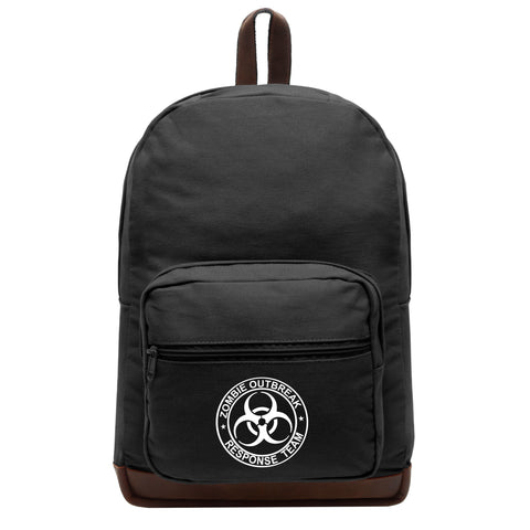Zombie Outbreak Response Team Teardrop Backpack with Leather Bottom Accents