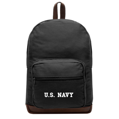 US NAVY Text Canvas Teardrop Backpack with Leather Bottom Accents