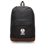 US Army Skull Canvas Teardrop Backpack with Leather Bottom Accents
