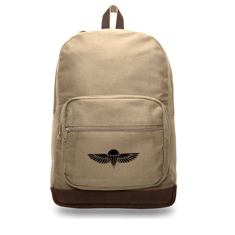 IDF ISRAELI Canvas Teardrop Backpack with Leather Bottom Accents
