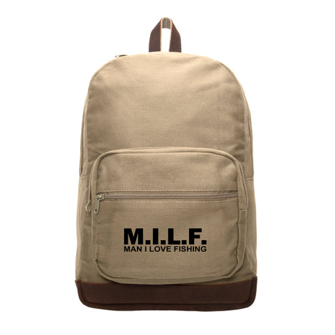 MILF man I love fishing Text Teardrop Backpack with Leather Bottom Accents