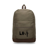 LOVE Peace Sign Grenade AK Canvas Teardrop Backpack with Leather Bottom Accents