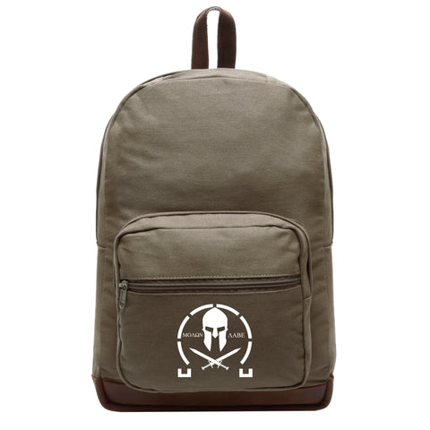 Molon Labe Spartan Crossed Swords Teardrop Backpack with Leather Bottom Accents