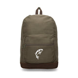Jumping Bass Fish Canvas Teardrop Backpack with Leather Bottom Accents