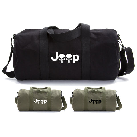 Jeep Wrangler Renegade Cherokee Punisher Skull Military Duffle Bag Gym Duffel