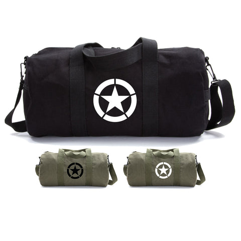 Army Force Gear WWII Military Jeep Invasion Star Duffel Tote Gym Bag World War 2