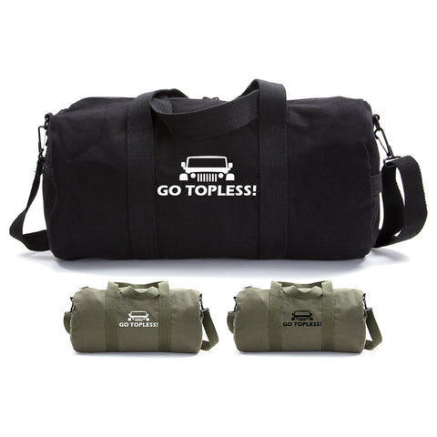 Go Topless Jeep Offroad Sport & Travel Army Heavyweight Cotton Canvas Duffel Bag