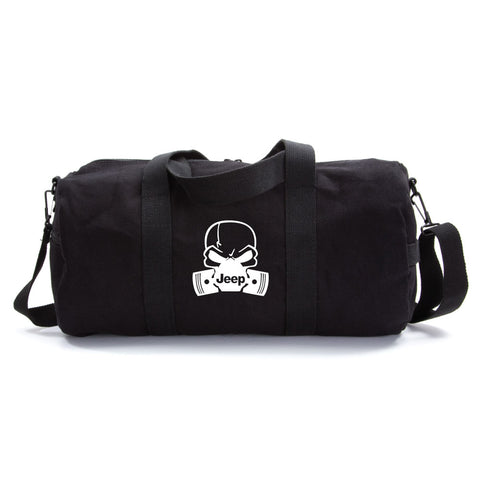 Deadly Skull and Pistons Jeep Army Sport Heavyweight Canvas Duffel Bag