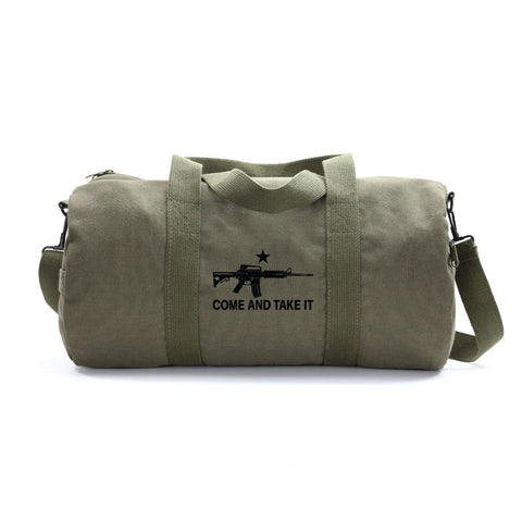 Come and Take it M4 Assault Rifle Army Sport Heavyweight Canvas Duffel Bag