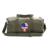 American Flag Punisher Skull Army Sport Heavyweight Canvas Gym Duffel Bag