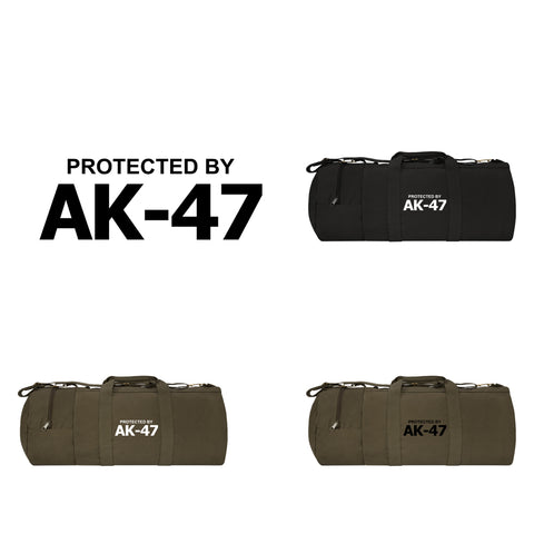 "Protected by AK-47 30"" Canvas Double Ender Duffel Sports Bag, Detachable Strap"
