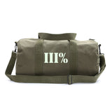 Vintage Sport Travel Army Heavyweight Canvas Duffel Shoulder Bag Three Percent