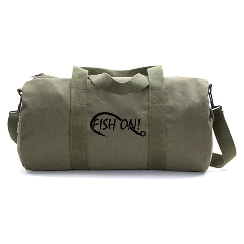 Fish On Fishing Hook Sport or Travel Army Heavyweight Cotton Canvas Duffel Bag