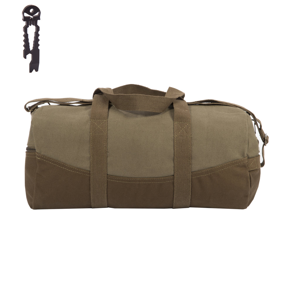 """2b456217f Two Tone Brown 19"""" Canvas Sport Duffel Bag with Free Punisher Skull  Multitool"""