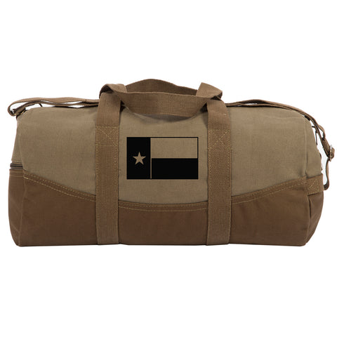 "Texas Flag Two Tone Canvas 19"" Duffel Bag with Brown Bottom, Detachable Strap"