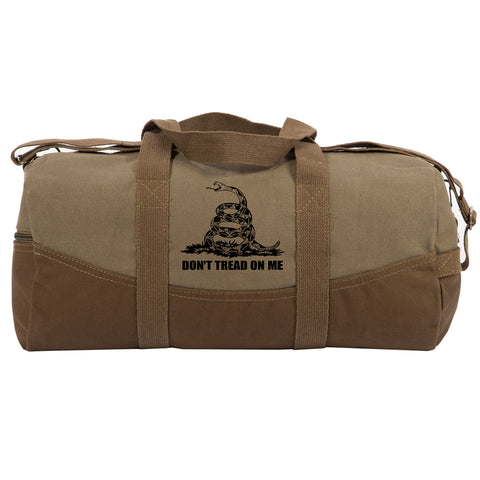 "Don't Tread On Me Rattlesnake Two Tone Canvas 19"" Duffel Bag with Brown Bottom"