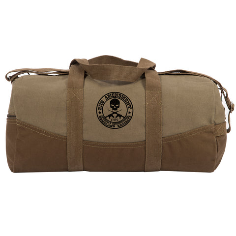"2nd Amendment Homeland Security Two Tone Canvas 19"" Duffel Bag with Brown Bottom"