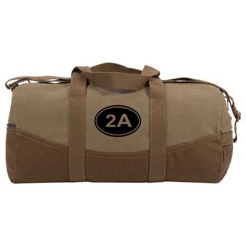 "2A Gun Ammo Bullets Two Tone 19"" Duffle Bag with Brown Bottom, Detachable Strap"