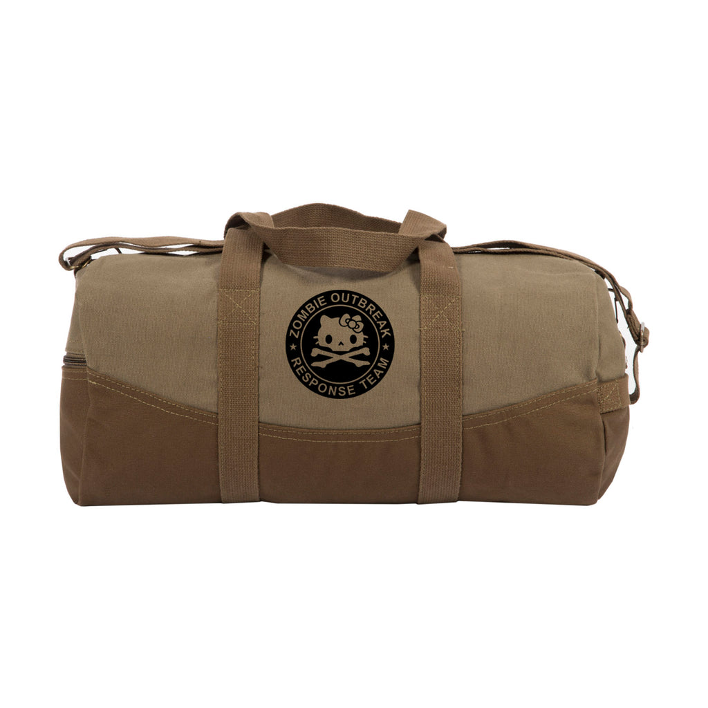 "Zombie Outbreak Response Team Hello Kitty Two Tone Brown  19""  Canvas Duffel Bag"
