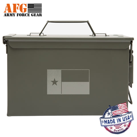 Metal Ammo Can with Laser Engraved Texas Flag