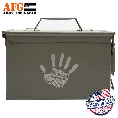 Metal Ammo Can with Laser Engraved High Five Jeep