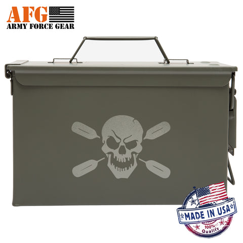 Metal Ammo Can with Laser Engraved Deadly Kayaker Paddle Skull