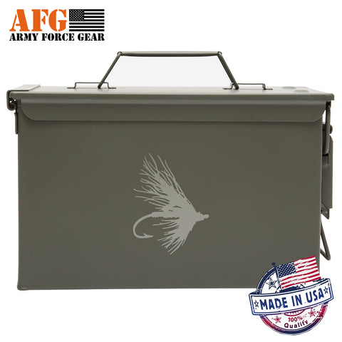 Metal Ammo Can with Laser Engraved Fly Fishing